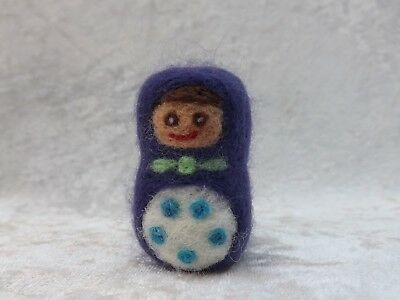 Beautiful Handmade Purple NEEDLE FELTED Russian Doll like Sculpture Needle felt