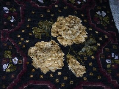 antique vintage Hand Stitched worked tapestry seat or cushion picture