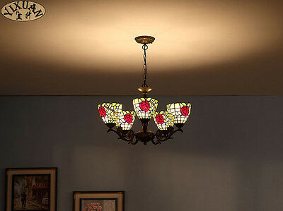 Tiffany Style Rose Chandelier / Flushmount Stained Glass E27 Light Ceiling Lamp