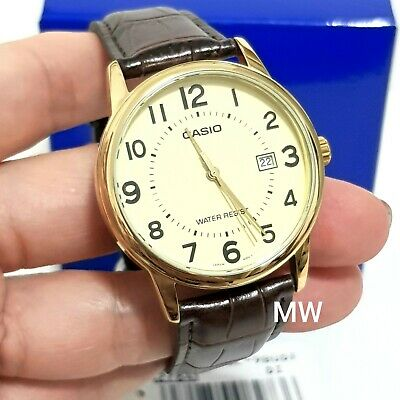 MTP-V002GL-9B Numbering Casio Men's Watch Brown Leather Band Brand-New Analog