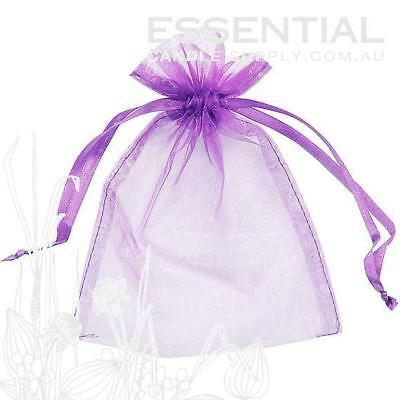 Organza Bag 9x12cm - Purple Pack 100 Sheer Gift Pouch Jewellery Wedding Party Fa