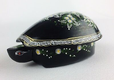 Vintage Black Lacquer Wood Turtle Trinket Box Hand Painted Flower Daisy Thailand