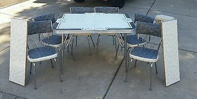 Vintage Formica Table and 6 Chairs Set Grey, Black & White W/2 Leaves