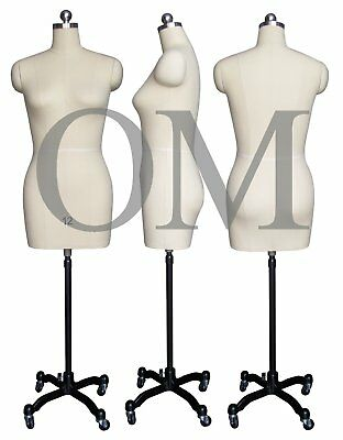Pinnable Female Mannequin Dress Form, W/ Heavy Duty Rolling Base, Size 12 (mt 12