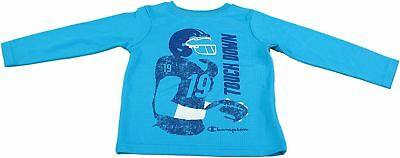 """Champion Authentic Boys 5/6 """"Touch Down"""" Athletic Mock Sleeve Shirt, Atomic Blue"""