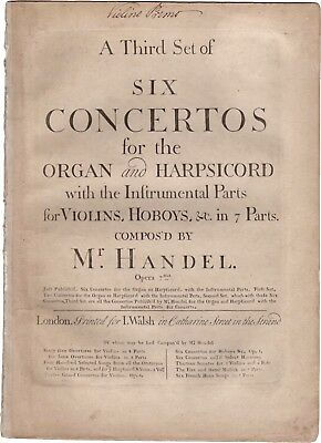 HANDEL G.F. Musica A THIRD SET OF SIX CONCERTOS FOR THE ORGAN OP. 7 Walsh 1761