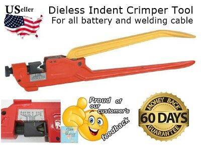 DIELESS INDENT LUG CRIMPER TOOL for Electrical Battery Terminal Cable Wire LUGS
