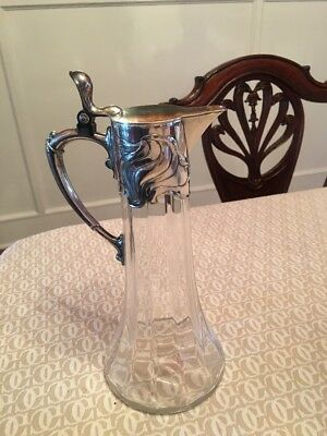 ANTIQUE WMF ART NOUVEAU JUGENDSTIL Glass Claret Jug decanter Silver plated 1905