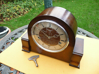 Restored Smiths/Enfield westminster chime mantle clock 1951 with original key.
