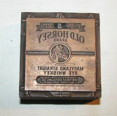 Rare Old Horsey Brand Rye Whiskey Label Printer Block Foust Distilling Co #19