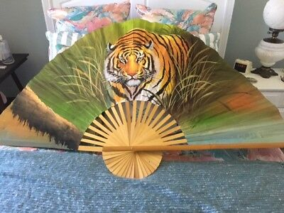 "Large  60"" Bamboo Tiger Wall  Fan"