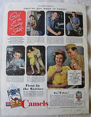 1943 Rosie Riveter-type  Girl on the Swing Shift Camel Cigarettes ad PRINT AD