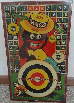 "Antique, Vintage Black Sambo Tin Dart Target Game, Toy, Wyandotte Ny Usa 22""-14"""