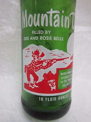 Mountain Mtn Dew Filled By Zeke And Rosie Belle 1964 Glass Bottle By Pepsi Cola