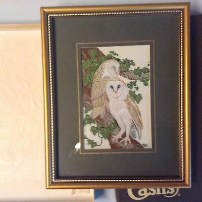 J & J Cash Ltd Silk Woven picture of Owls. Framed & Boxed