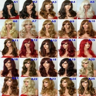 Fashion Women Long Hair Full Wig Natural Curly Wavy Synthetic Hair Wigs - styleA