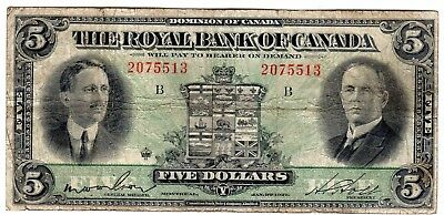 1927 CANADA Chartered Banks $5 signed Wilson-Holt P# S1383