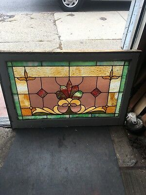 Antique American Buffalo Colored Stained Leaded Glass Window Floral Lotus