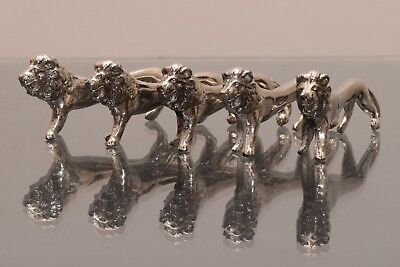 6 Vintage Silver Plate Lion Knife Rests, Great For Dinner Parties!
