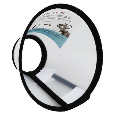 Elizabethan Dog Cat Pet Wound Healing Cone E- Collar White with Black CT L7 M3B5
