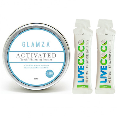 WHITE FIRST - Glamza Poudre Blanchiment dentaire + 2 Huiles Blancheur LiveCoco