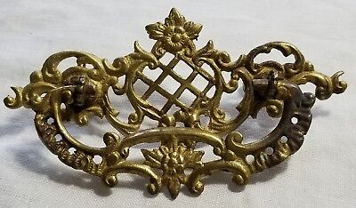 Antique Victorian Ornate Cast Brass Drawer Pull Handle
