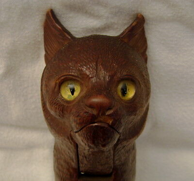 Antque Black Forest Well Carved Cat Lever Nutcracker Realistic Glass Eyes Treen