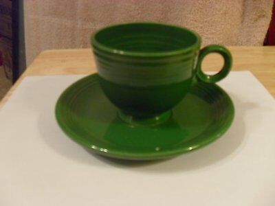 Vintage Hlo Feista Ware Forest Green  Cup And Saucer