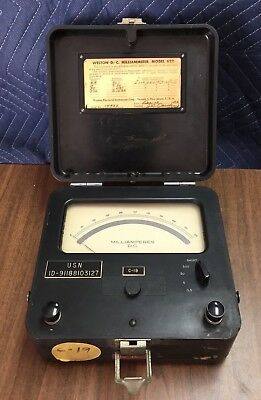 Weston D.C. Milliammeter Model 622 Milliamperes Vintage Military Surplus