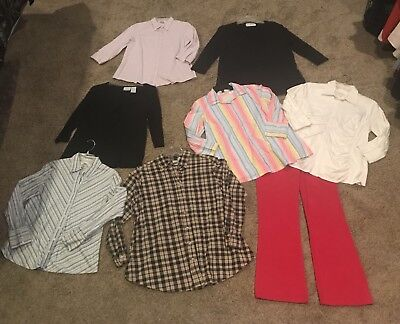 Small Maternity Clothes Career Casual Blouse Tops & Pants Mixed Clothing Lot