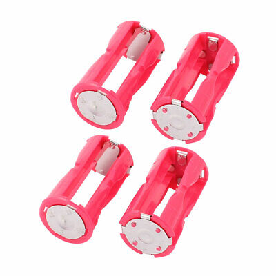 4Pcs Round Plastic Battery Holder Case Box Rose Red for 4 x 1.5V AAA Battery