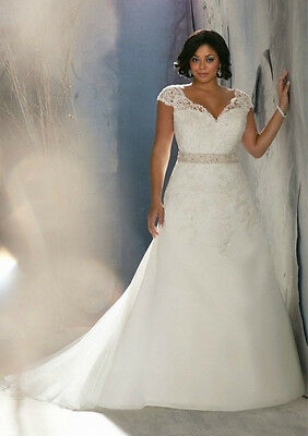 New Plus Size White/Ivory Bridal Gown Lace Wedding Dress 14 16 18 20 22 24 26