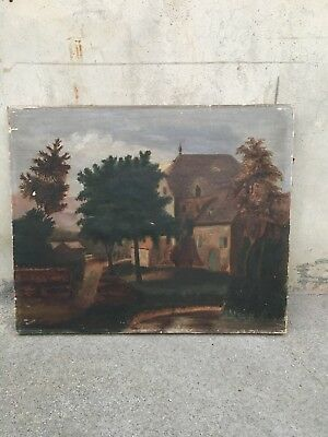 Antique 18th Century Oil scenic painting on canvas or  early 19th century