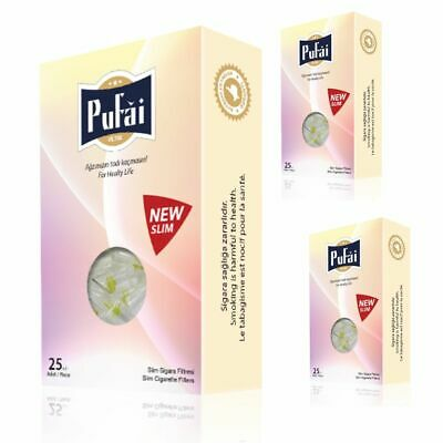 Pufai Ultra Slim Cigarette Filters Tar Blocker Compatible 5mm 6mm 75 Piece 3 Box