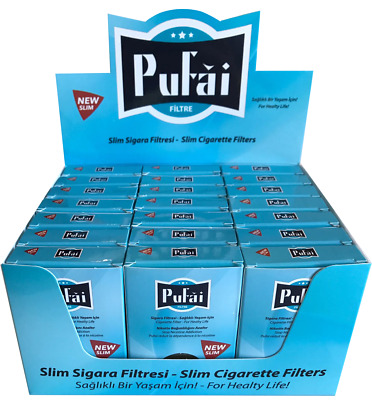 Pufai Slim Cigarette Filters Tar Trap Compatible 5 mm 6 mm 525 Piece 21 Boxes