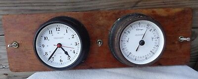 Vintage Antique Chris Craft Boat Yacht Trident Clock And Barometer On Board