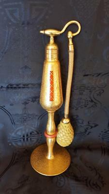 "Rare 1920's Volupte Imperial Size 22 kt Gold Perfume Atomizer Bottle 9.5 "" Tall"