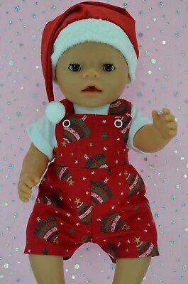 """Play n Wear Doll Clothes To Fit 17"""" Baby Born XMAS BIB DUNGAREE~T-SHIRT~HAT"""
