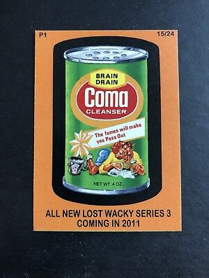 2011 LOST WACKY PACKAGES 3rd SERIES Original PROMO P1 Card COMA #15/24