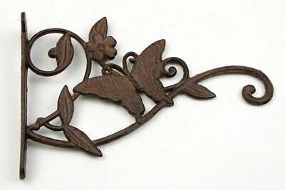 Rustic Country Style Rust Cast Iron Butterfly Hanger Plant Hanging Bracket Hook