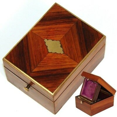 Antique French Napoleon III Pocket Watch Display Casket, Kingwood Marquetry Box