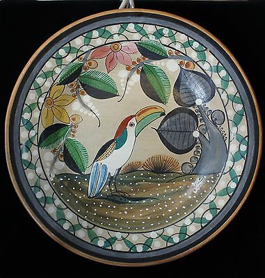 Tocan Tropical Bird Decorative Plate Hand Made & Painted Tonala Mexico Folk Art