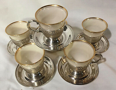 Set of Six Alvin Sterling Demitasse Cups and Suacers with Lenox Liners
