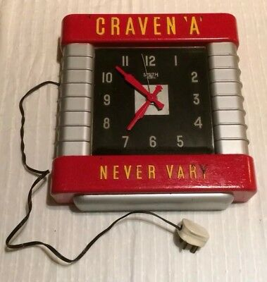 Smiths Clock, Craven A Never Vary, Craven A, Smith Sectric, Used, Old, needs TLC