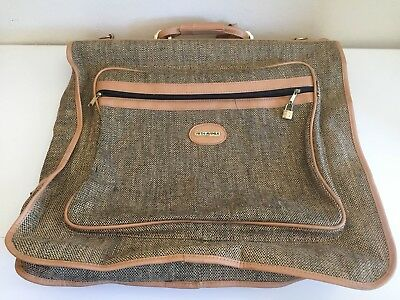 80s Vintage Tweed FIFTH AVENUE Travel Luggage Garment Bag