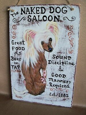 HP Chinese Crested NUT HOUSE /Saloon SIGN 2 paintings hand painted dog art wood