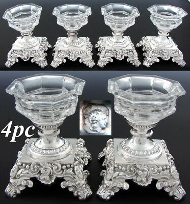 RARE Set of 4 Antique French Sterling Silver & Cut Glass or Crystal Open Salts