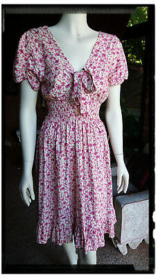Vintage Dress - Appleblue Size 10/12 Pink Floral on white - Very Good Condition