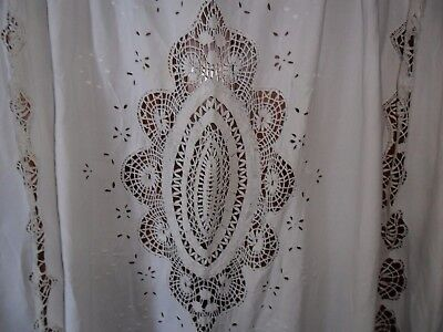 """Antique French table cloth pure linen.Hand embroidered.Lace.79 3/4""""x97 3/4""""."""