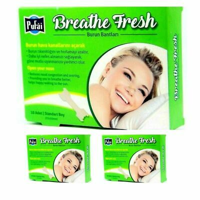 Breathe Fresh Nasal Strips, 30 piece in 3 box , Standart Size 55x16 mm by Pufai